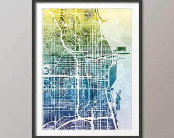 Chicago Map, Chicago Illinois City Street Map, Art Print (1801)