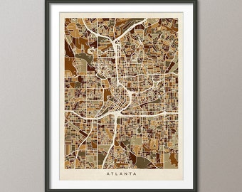 Atlanta Map, Atlanta Georgia City Street Map, Art Print (1807)