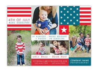 INSTANT DOWNLOAD - 4th of July - Photography Marketing board - Psd Newsletter  template - E1046