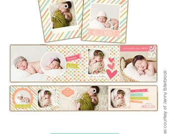 INSTANT DOWNLOAD  - Accordion mini template 3x3 - Baby love - E459