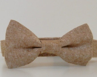 Tan Brown Tweed Menswear Bow Tie Dog Collar Summer Collar Wedding Accessories Made to Order