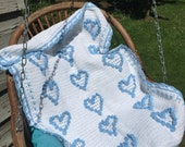 White crochet baby afghan with 18 blue hearts Ready to ship