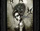 Bird Hair, Gothic, Tattoo Swallow, ark Art Print by Marcus Jones