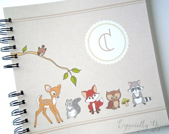 Baby Book |  Baby Memory Album | Woodland Animals Personalized Wire Bound Baby Memory Book Keepsake Album