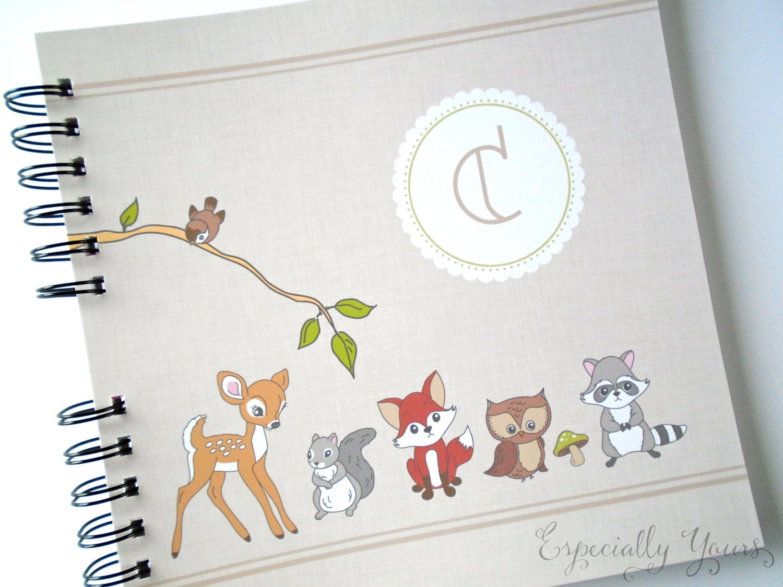 How to scrapbook baby book - Baby Book Baby Memory Album Woodland Animals Personalized Wire Bound Baby Memory Book Keepsake Album