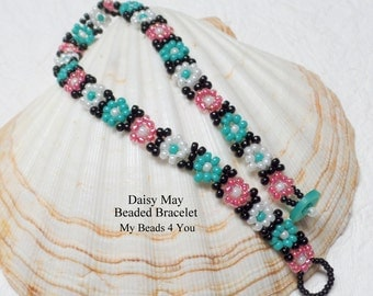 Beaded Bracelet, Daisy Chain Bracelet,Daisy Chain Jewelry,Seed Bead Jewelry, Multi colored Beaded Jewelry,Beading Tutorial, Summer Jewerly