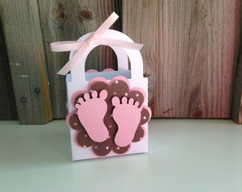 Set of 12 - PINK BABY FEET Favor Bags with Handles - Baby Shower Favors (Pink and Brown Design)