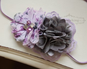 Lavender and Grey headband, purple flower headbands, grey headbands, baby headbands, newborn headbands, photography prop