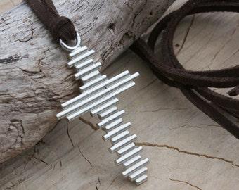Large Silver Cross Necklace, Crucifix, Crucifix Necklace