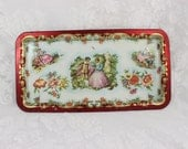 Vintage Tin Tray by Daher- Made in England- French Courting Pastoral Scene- Romantic Couple- Red, Gold, Pink, Blue