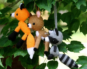 Knit Trio to Hang in Nursery - Woodland Nursery Set - Made to Order - You Pick 3 Animals