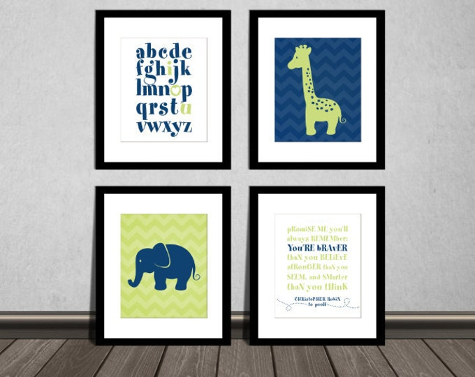 Winnie the Pooh Stronger quote, ABC alphabet, Elephant and Giraffe, Downloadable. Print it yourself.