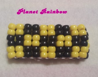 Yellow and Black Checker Ladder Stitch Kandi Cuff - Rave - EDC - Kandi Bracelet - Festival
