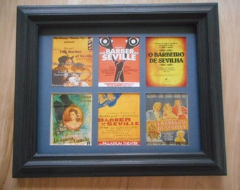 BARBER OF SEVILLE ((6 miniature reproduction posters in a frame (+ exmples of similar items for sale on Etsy)