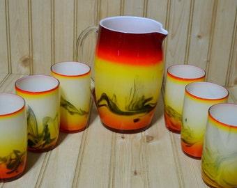 Vintage Cased Amberina Style Swirl Pitcher and 6 Glasses Barware Yellow Red Orange Black