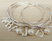Silver Monogram Bangle With Initial & Pearl - Sterling Silver