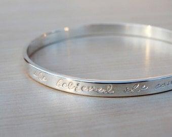 Silver Message Bangle - Script - Sterling Silver