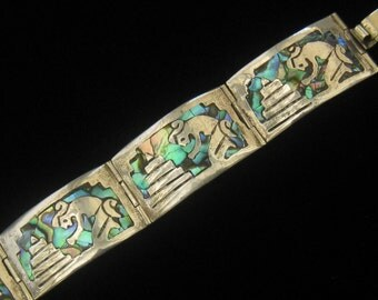 """CLEARANCE IGUALA Sterling Panel Bracelet with Abalone Inlay Designs. 1940's Vintage Mexican Silver.  7"""" Long When Clasped.  5/8"""" Wide."""