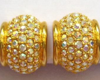 Sale SWAROVSKI AB Crystal Rhinestone Pave Hoop Vintage Earrings in Rich Gold Tone. Designer's Swan Mark Inside.