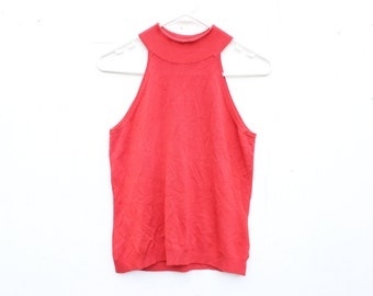 90s High Neck Stretch Knit Minimal High Neck Red Crop Top