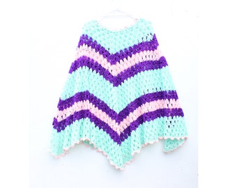 Pastel Rainbow Knit Crochet Poncho, Super Long + Free Size