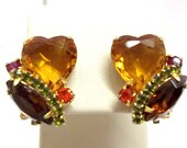 Juliana Gold Topaz Heart Rhinestone Earrings Smoke Topaz Amber Fuchsia Hyacinth Peridot Green Fall Autumn DeLizza and Elster Earrings DD 591
