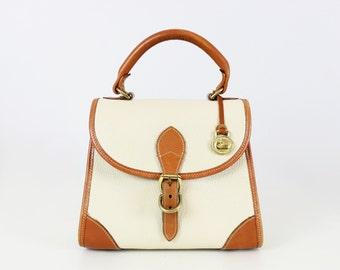 vintage DOONEY & BURKE bag / dooney and burke all weather satchel / pebbled bone leather bag / classic top handle bag