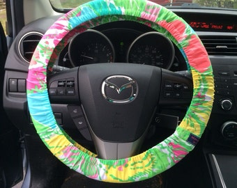 Steering Wheel Cover made with Lilly Pulitzer's Big Flirt fabric