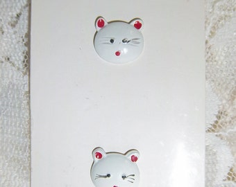 "JHB Button 1/2""  White Cat Face Hand Painted With Red Ears Black Whiskars Red Mouth Vintage New"
