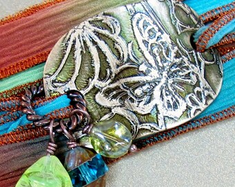 Wrap bracelet hand dyed silk ribbon brass butterfly and glass beads