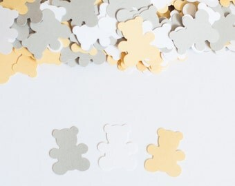 Teddy Bear Confetti, Gender Neutral Baby Shower, Teddy Bear Baby Shower Decor, Light Yellow and Gray