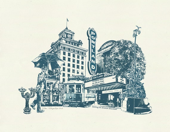 Catching the Streetcar Downtown - Art Print of Portland, Oregon - 8.5x11 and 11x14