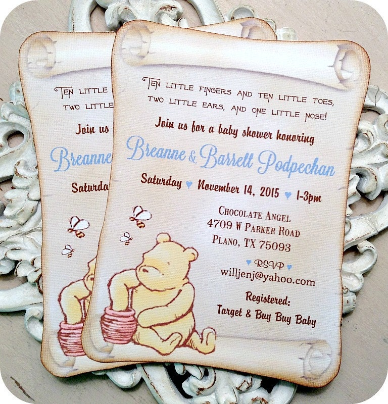 Classic Winnie the Pooh Baby Shower Invitations (10) Classic Pooh ...