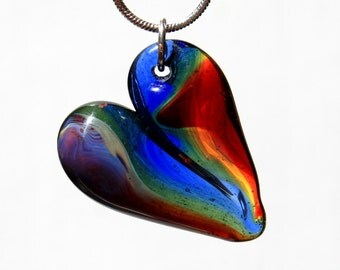Rainbow Heart Necklace, Glass Heart Pendant, Hand blown Lampwork Jewelry, Borosilicate glass Focal Bead