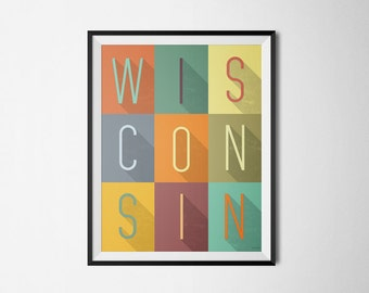 On, Wisconsin - Typography Print