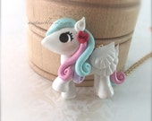 White Baby Pony Necklace. Polymer Clay Cute Necklace. Pastel Hair. Heart. Winged Horse. Pegasus. Kawaii. Adorable. Under 20. Gold Chain.