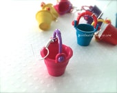 Colorful Pail Bucket Dangle Earrings. Beach. Toys. Nautical. Miniature Sand Bucket. Summer Time Fun. Beach Days. Pink. Blue. Under 10 Gifts.