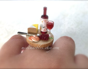Miniature Wine and Cheese Adjustable Ring. Kawaii Colorful Adjustable Brass Ring. Summer Picnic. Wine Bottle. Wood. Cheese Lover. Food Ring.