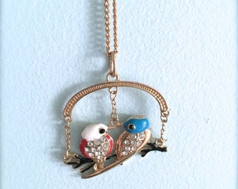 Blue and White Lovebird Necklace. Cute Birds. Woodland. Whimsical. Gold Chain. Statement Enamel Pendant. Rhinestones. Under 10 Gifts. Long