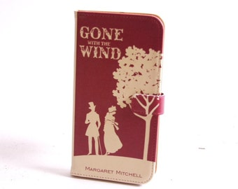 Book phone /iPhone flip Wallet case- Gone with the Wind for  iPhone X, 8, 7, 6, 6 7 & 8 plus, 5 5s 5c Samsung Galaxy S7 S6 S5 Note 5 7 8, LG
