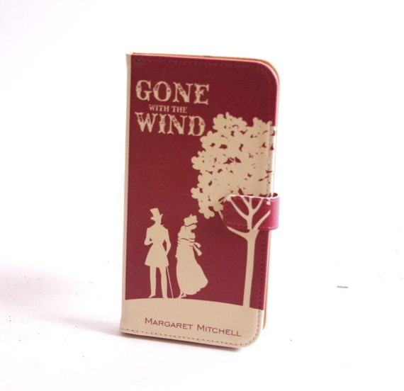 Book phone /iPhone flip Wallet case- Gone with the Wind for iPhone 6, 6 plus, 5, 5s, 5c, iPhone 4, 4s- Samsung Galaxy S6 S5 S4 S3, Note 3, 4