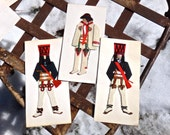Polish Cards, Global Greeting Cards, SET OF 3 Handmade in Poland Folk Dancer, Regional Costumes, 1950's Souvenir of Poland, Polish Costumes