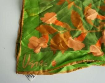 Vintage Vera Neumann Scarf Green and Peach Flowers 1960s