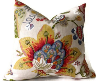 Floral Pillow,Red, Green,Yellow,Blue, Tan,Pillow,Throw Pillows, Decorative Pillow Cover,Lumbar Pillow 16x16, 18x18. 20x20, 22x22