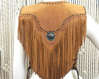 One of a kind custom made bohemian studded brown leather and fringe vest