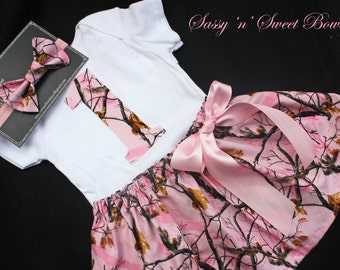 REALTREE Real Tree Pink camo 1st First Birthday onesie camoflage headband skirt Cake Smash photo props shoot