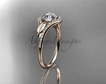 "14kt rose gold diamond leaf wedding ring, engagement ring with a ""Forever One"" Moissanite center stone ADLR334"