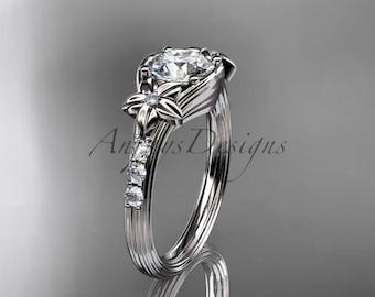 Unique 14k white gold diamond leaf and vine, floral diamond engagement ring ADLR333