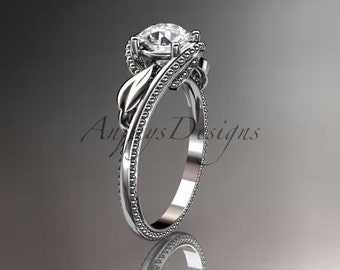 Unique 14kt  white gold  engagement ring ADLR322