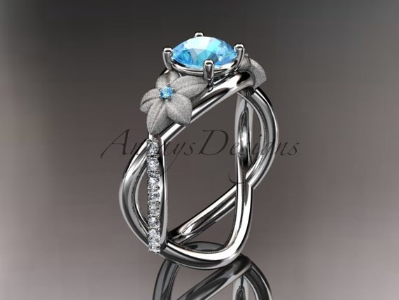 14kt white gold diamond leaf and vine birthstone ring ADLR90 Blue Topaz - December\'s Birthstone. nature inspired jewelry